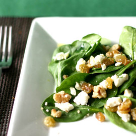 Spinach Salad with Cheese, Walnuts and Raisins