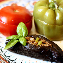 Stuffed Eggplants, Peppers and Tomatoes