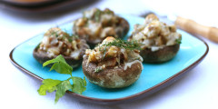 Mushrooms Stuffed with Eggplant, Walnuts and Fresh Herbs