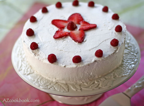 Strawberry Whipped Cream Cake - AZ Cookbook - A food blog with ...
