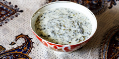 Yogurt Soup with Fresh Herbs and Chickpeas (Dovgha)