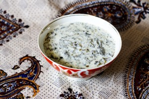 Azerbaijani Yogurt Soup with Fresh Herbs (Dovgha)