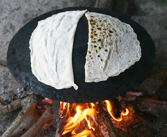 Cooking the Gutabs, Filled Flatbreads, on a Saj