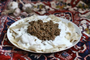 Khengel - Azerbaijani Pasta with Meat and Garlicky Yogurt Topping