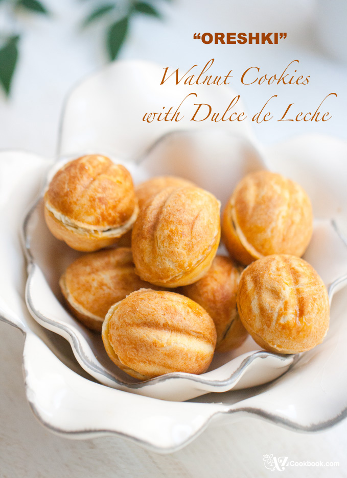 """Oreshki"" Walnut Cookies with Dulce de Leche"