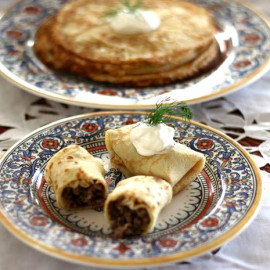 Meat Stuffed Blinchiki (Crêpes)