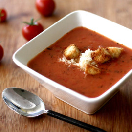 Tomato-Thyme Soup with Cheese and Croutons