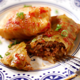 Cabbage Rolls Stuffed with Meat, Rice, and Fresh Herbs (Kelem Dolmasi)