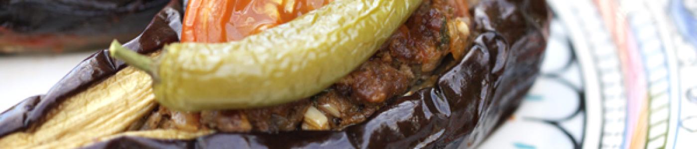 "Turkish ""Split-Belly"" Stuffed Eggplant"