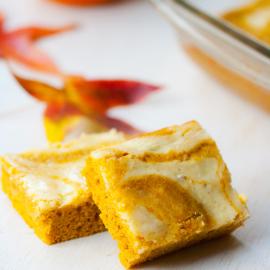 Swirled Pumpkin-Cream Cheese Cake Bars